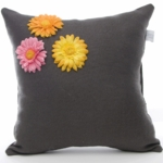 Glenna Jean Kirby Charcoal with Dimensional Flowers Pillow