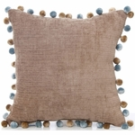 Glenna Jean Preston Pillow - Brown Velvet with Pom Pom