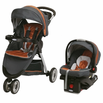Graco FastAction Fold Sport Click Connect Travel System - Tangerine
