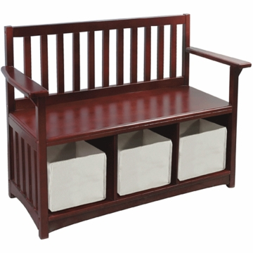 Guidecraft Classic Espresso Storage Bench with Bins