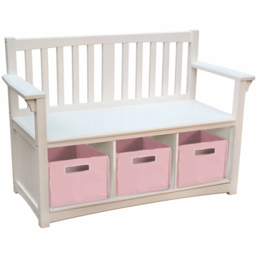 Guidecraft Classic White Storage Bench with Bins