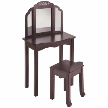 Guidecraft Expressions Personalized Vanity & Stool in Espresso