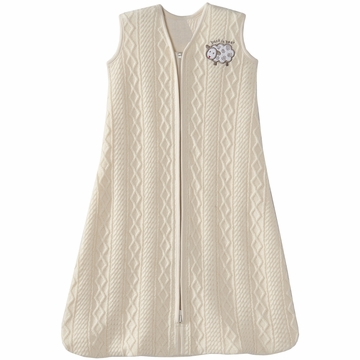 Halo SleepSack 100% Cotton Cable Sweater Knit Wearable Blanket in Cream Lamb - Small