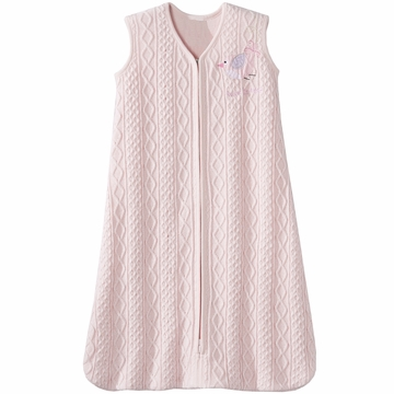 Halo SleepSack 100% Cotton Cable Sweater Knit Wearable Blanket in Pink Bird - Medium