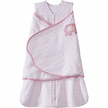 Halo SleepSack 100% Cotton Swaddle in Elephant Diamond Pink - Newborn