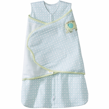 Halo SleepSack 100% Cotton Swaddle in Elephant Diamond Turquoise - Small