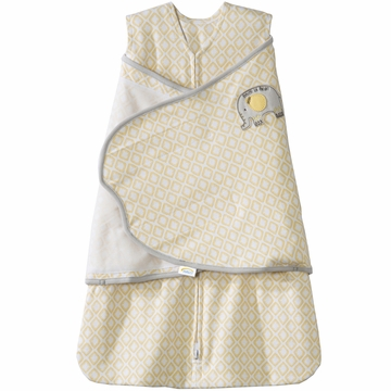 Halo SleepSack 100% Cotton Swaddle in Elephant Diamond Yellow - Newborn
