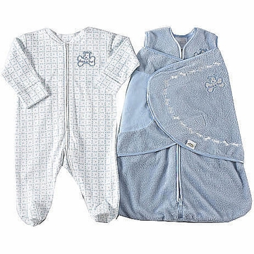 Halo SleepSack Velboa Wearable Blanket & Coverall 2 Piece Set in Blue Dog - Newborn