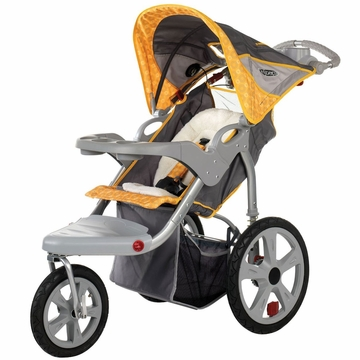 InSTEP Grand Safari Swivel Jogging Stroller-Single Gray/Yellow