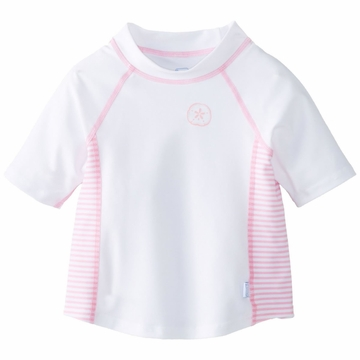 iPlay Short Sleeve Rashguard - White/Pink - Medium (6 to 12 months)