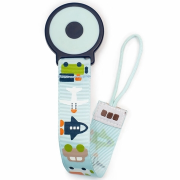 JJ Cole Pacifier Clip - White Vroom
