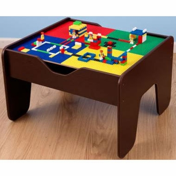 KidKraft 2 in 1 Activity Table with LEGO Compatible Board - Espresso