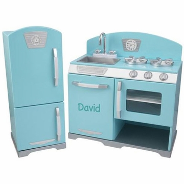 KidKraft Personalized Blue Retro Kitchen & Refrigerator