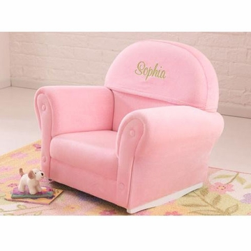 KidKraft Personalized Pink Velour Rocker with Slip Cover