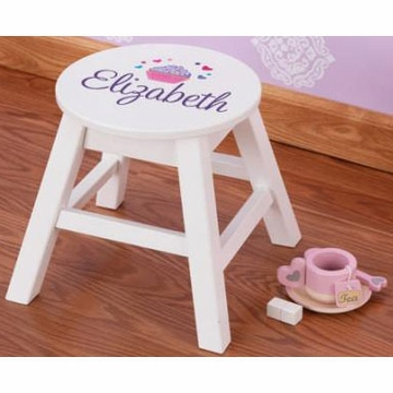KidKraft Personalized Round Stool in White