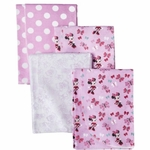 Kids Line Disney Minnie Mouse 4Pk Flannel Receiving Blankets