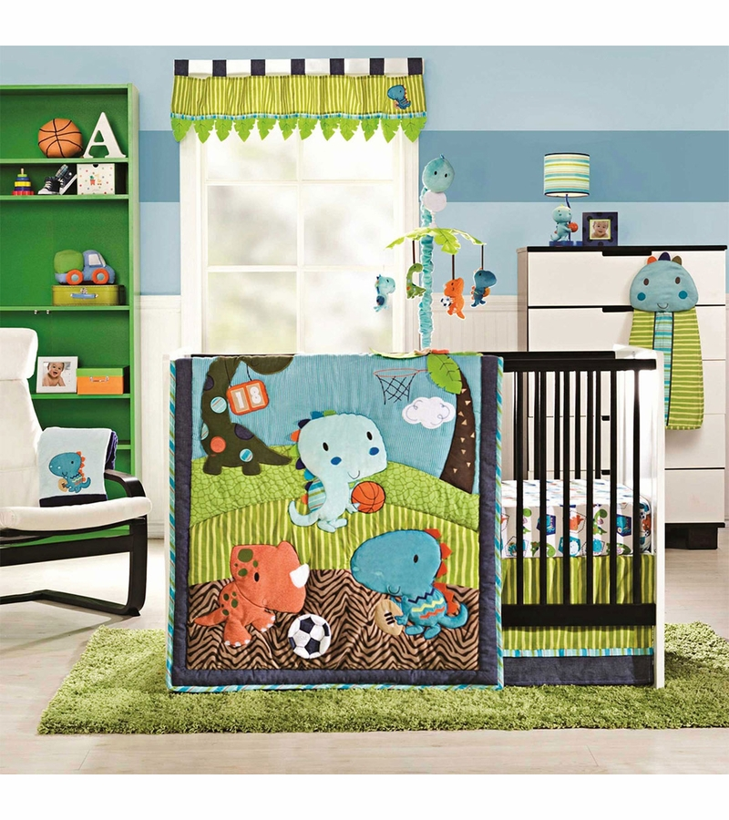 Kidsline Dino Sports 4 Piece Crib Bedding Set