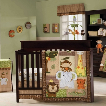 KidsLine Jungle Walk 4 Piece Crib Bedding Set