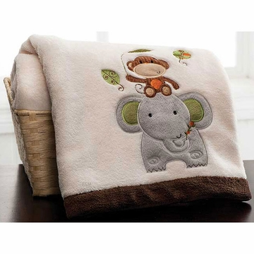 KidsLine Jungle Walk Embroidered Boa Blanket