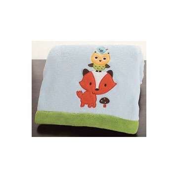 KidsLine Little Tree House Embroidered Boa Blanket
