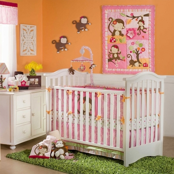 KidsLine Miss Monkey 4 Piece Crib Bedding Set