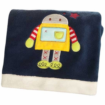 KidsLine Robots Play Embroidered Boa Blanket
