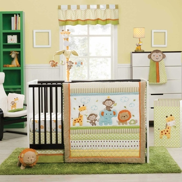 KidsLine Safari Party 4 Piece Crib Bedding Set