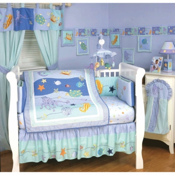 KidsLine Sea Life 6 Piece Crib Bedding Set
