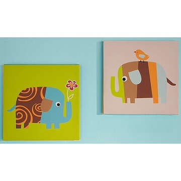KidsLine Zutano Elephants 2 Piece Canvas Wall Art
