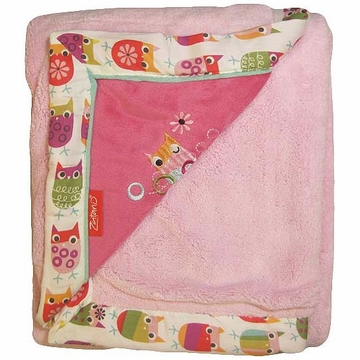 KidsLine Zutano Owls Embroidered Velour Luxe Blanket