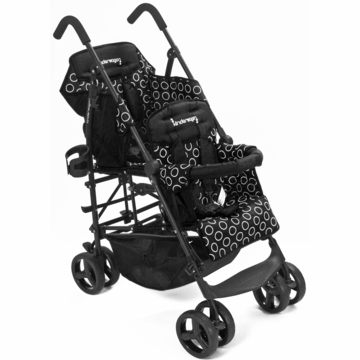 Kinderwagon HOP Tandem Double Umbrella Stroller in Black