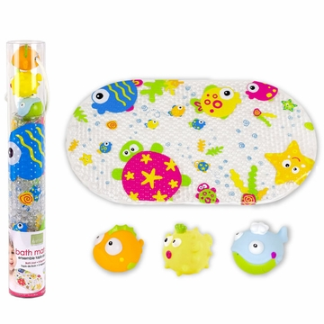 Kushies Bath Mat & Squirter Set - Marine