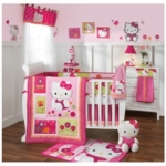 Lambs & Ivy Hello Kitty Garden 5 Piece Crib Bedding Set