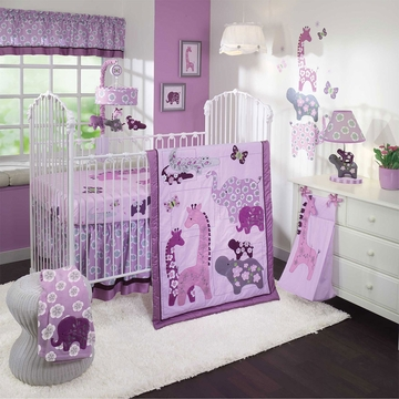 Lambs & Ivy Lavender Jungle 4 Piece Crib Bedding Set