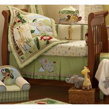 Lambs & Ivy Zoofari 6 Piece Crib Bedding Set