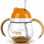 Lansinoh mOmma Straw Cup with Dual Handles - Orange