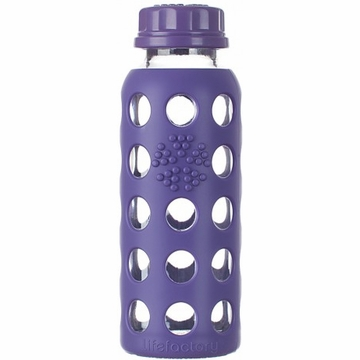Lifefactory 9oz Glass Bottle with Flat Cap in Royal Purple