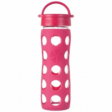 Lifefactory Glass Bottle with Classic Loop Cap & Silicone Sleeve 16 oz in Raspberry
