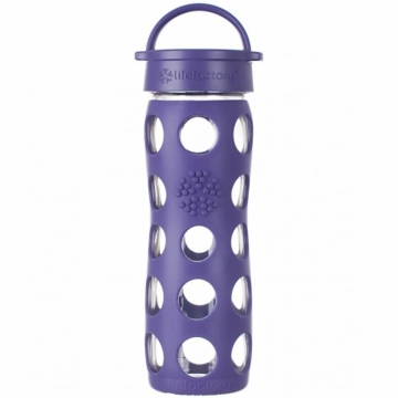 Lifefactory Glass Bottle with Classic Loop Cap & Silicone Sleeve 16 oz in Royal Purple