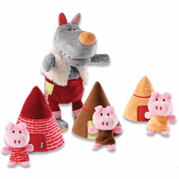 Lilliputiens Wolf Handpuppet & 3 Little Pigs