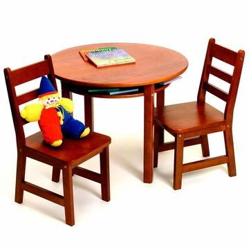 Lipper Round Table with Shelf & 2 Chairs Cherry