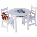 Lipper Round Table with Shelf & 2 Chairs White