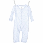 Little Giraffe Link Cotton Romper in Blue - 3 to 6 Months