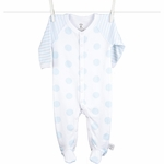 Little Giraffe Lollipop Henley Footie in Blue - 3 to 6 Months