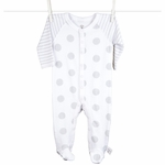 Little Giraffe Lollipop Henley Footie in Silver - 3 to 6 Months