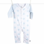 Little Giraffe Lollipop Henley Romper in Blue - 3 to 6 Months