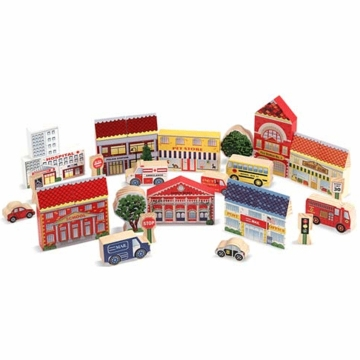 Melissa & Doug Town Blocks Wooden Play Set
