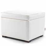 Monte Design Storage Ottoman in Bonded Leather White