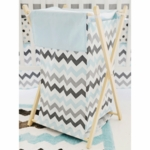 My Baby Sam Chevron Baby Aqua Hamper