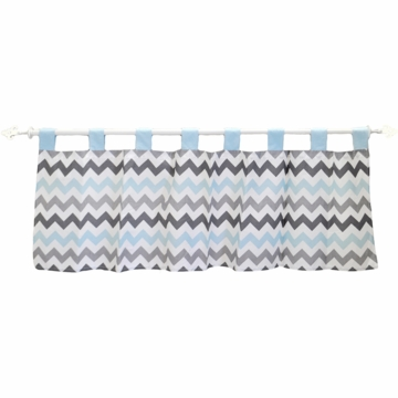 My Baby Sam Chevron Baby Aqua Window Valance